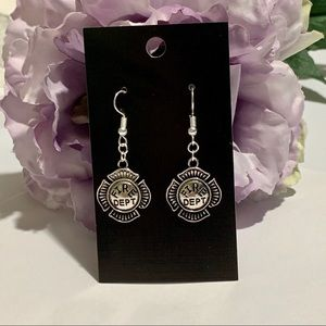 Fire Dept Symbol Fashion Dangle Earrings